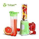 Aigostar Summer 30IWW - Batidora de vaso portátil para smoothies, batidos y picar frutas, 350W. Incluye 2 vasos de Tritan de 600 ml y 2 tapas. Color verde. Libre de BPA. Diseño exclusivo.