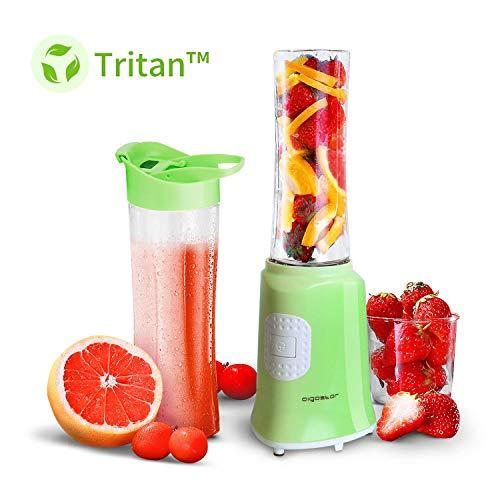 Aigostar summer 30iww - mini frullatore per frullati e smoothie, frullatore portatile 4 lame in acciaio inox e 2 bottiglie in tritan per sport, frullatore per frutta e verdura, senza bpa, 350w, verde