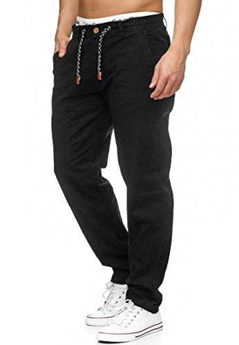 Indicode Herren Veneto Stoffhose aus 55% Leinen & 45% Baumwolle m. 4 Taschen | Lange sportliche Regular Fit Hose Moderne Baumwollhose Leinenhose Bequeme Freizeithose f. Männer in Schwarz XL