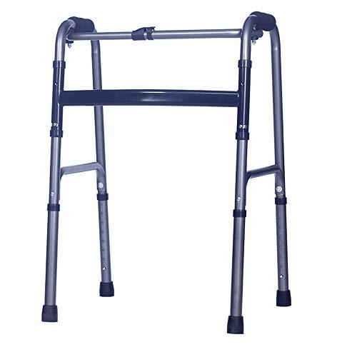 Zfggd andadores Reversible de Doble propósito para el Anciano rehabilitador Andador de Aluminio con Cuatro Patas Plegable con caña Andador para discapacitados