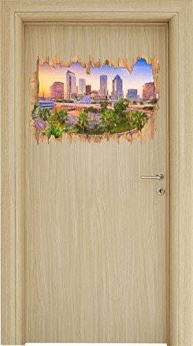 Skyline in den USA Kunst Buntstift Effekt Holzdurchbruch im 3D-Look , Wand- oder Türaufkleber...