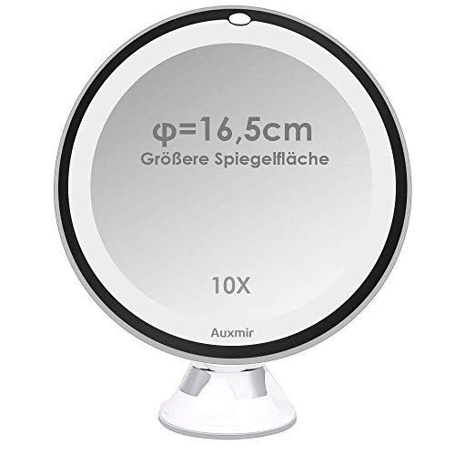 Auxmir Kosmetikspiegel LED mit Licht, 10X Vergrößerung, 16,5CM Spiegelfläche und Saugnapf, 360° Schwenkbar, Make-Up Schminkspiegel Beleuchtet mit Blendfreier Beleuchtung für Zuhause und Unterwegs