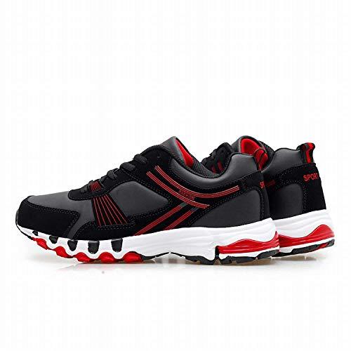 Oudan Schuhe Männer Casual für Hilfe binden die Entwicklung von Light-Play-Schuhe Casual (Farbe : Black/red, Größe : EU 47) (Botas De Mujer Altas)