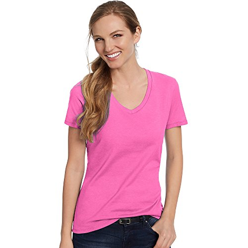 Womens V-neck Tee (Hanes Women's Short Sleeve Nano-T V-Neck Tee Wow Pink 2XL)