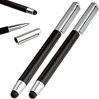 2 x moderner 2in1 Eingabestift / Touchpen mit Kugelschreiber und Deckel, Stylus für Handy & Tablet Touchscreen, iPhone, iPad, Samsung Pen (schwarz)