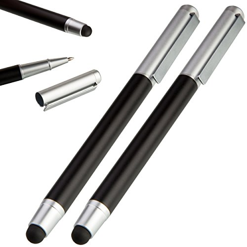 Liamoo 2 x moderner 2in1 Eingabestift/Touchpen mit Kugelschreiber und Deckel, Stylus für Handy & Tablet Touchscreen, iPhone, iPad, Samsung Pen (schwarz)