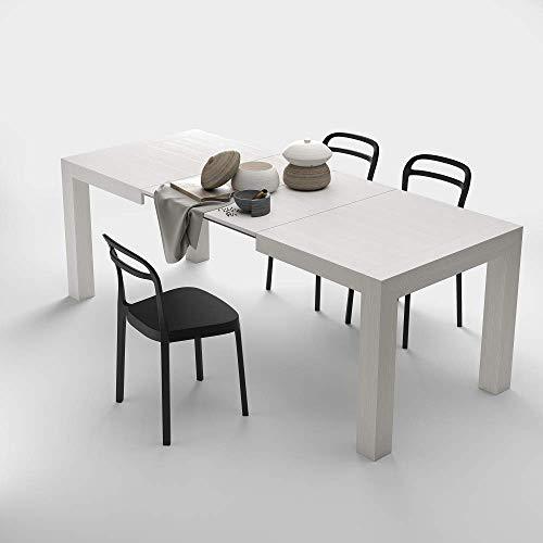 Mobilifiver, tavolo cucina allungabile fino a 220 cm, iacopo, nobilitato, colore bianco frassino, chiuso 140 x 90 x 77 cm , 2 allunghe da 40 cm riponibili all'interno