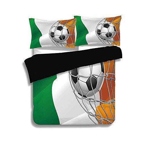 Schwarzer Bettwäschesatz, irisch, Fußball mit Sportmotiven in einem Netzspielziel mit Sieg der irischen Nationalflagge, mehrfarbig, dekorativ, 3-tlg. Bettwäschesatz, 2 Kissenbezüge, TWIN-Größe -