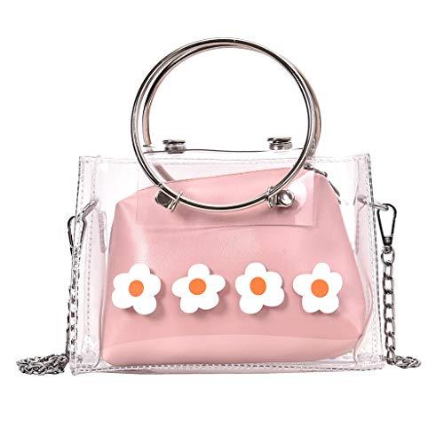 friendGG New Mode Damen Taschen Einfarbig Transparent Gelee Kette UmhäNgetaschen Schultertaschen Rucksack Handtaschen Tasche