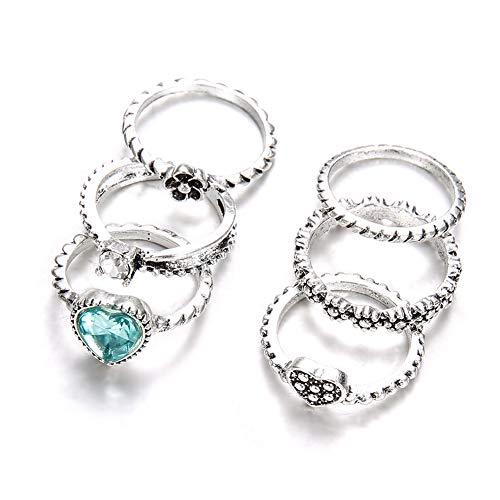 JoyFan Bohemian Vintage Damen Kristall Gelenk Knuckle Nagel Ring Set Fingerringe Punk Ring 6 Stück, Legierung, Silber, Einheitsgröße