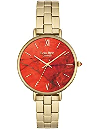 Lola Rose Women's Quartz Watch with Orange Dial Analogue Display and Gold Alloy Bracelet LR4000