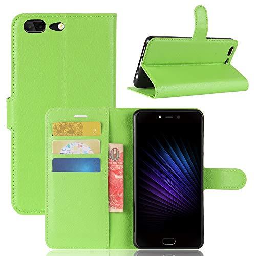 Adrian B Gonzalez Leagoo T5 Hülle, Einfarbig Litchi Muster Brieftasche Stil Vordere Schnalle Flip PU Ledertasche mit Kartensteckplätzen für Leagoo T5 (Farbe : Grün)