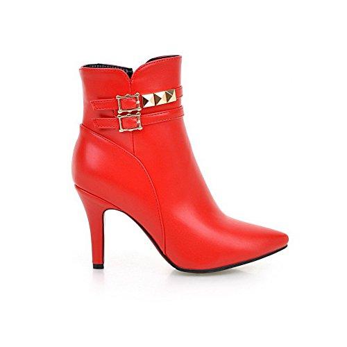 VogueZone009 Donna Bassa Altezza Puro Cerniera Tacco A Spillo Stivali con Rivetto Rosso