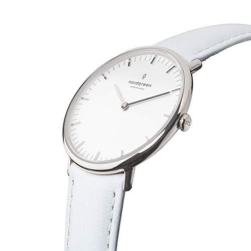 Nordgreen Native Damen- und Herrenuhr in Silber - Größe 36mm - Edelstahl - Flach - Skandinavische Designer Uhr Leder Weiß