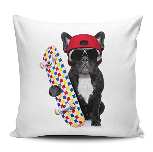 Kissenhülle/Kissenbezug 40x40cm - Motiv: Französische Bulldogge mit Skateboard, Sonnenbrille und Schutzhelm | 034