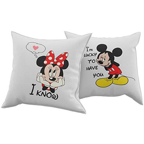 Tuttoinunclick set coppia 2 cuscini cuscino i'm lucky to have you idea regalo san valentino amore gr383
