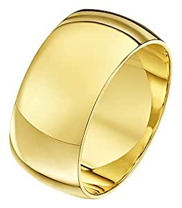 Theia Unisex Super Heavy Weight 10 mm D Shape 9 ct Yellow Gold Wedding Ring - U