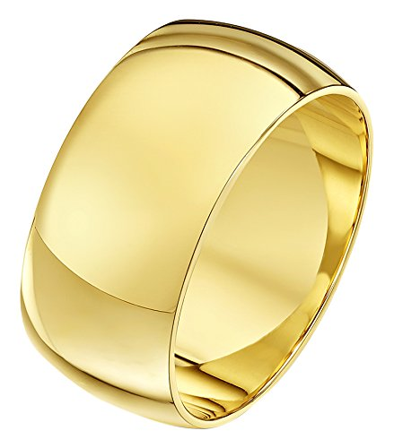 Theia Unisex Super Heavy Weight 10 mm D Shape 9 ct Yellow Gold Wedding Ring - Z