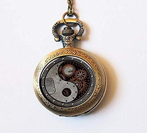 Reloj de bolsillo con colgante de Yin y Yang de Steam Punk