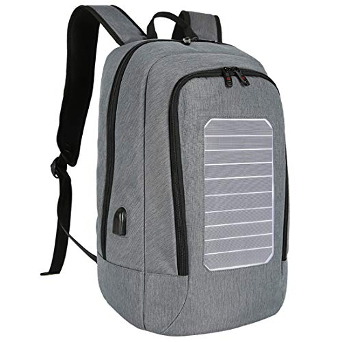 CCDYLQ Solar Computer Rucksack Externer USB-Ladehafen, Multi-Function Large Capacity Solar Panel Power Comfortable Breathable Business Rucksack Laptop-Tasche mit Handle,Gray
