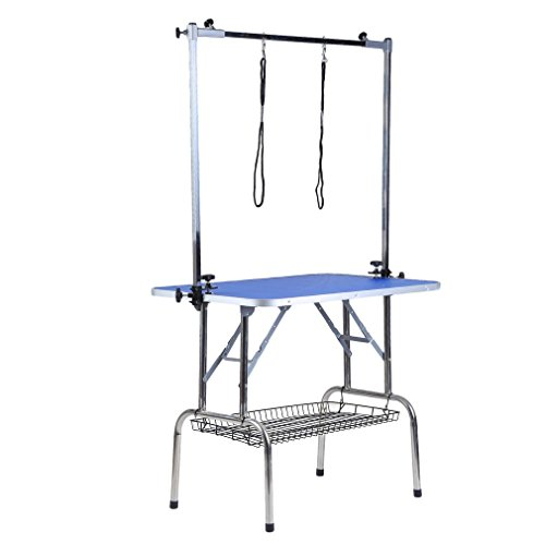 Homgrace Hunde Trimmtisch Pflegetisch Klappbar Schertisch Tisch mit Rutschfeste Oberfläche & 2 Höhenverstellbar Arm & Korb & 2 Galgen für Hunde Katze Hundepflege Blau (91 x 61 x 167 cm)