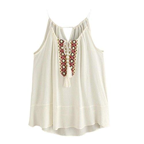 CYBERRY.M Femme Fille Sans Manches Dentelle Bretelle Débardeur Vest T-shirt Top Tee Beige