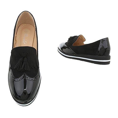 Ital-Design Chaussures Femme Mocassins Plat Slippers noir YHS6742