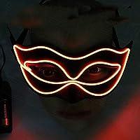 Yukun Máscara Fiesta de la Princesa de Halloween Masquerade Luminous Mask Butterfly Painted Party Led Juguete de Media Cara, Naranja