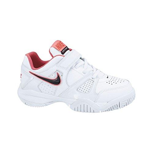 Nike City Court 7 (Psv), Chaussures de Tennis Fille Blanc / noir / rouge (blanc / obsidienne foncée - hyper rouge - dynamique)