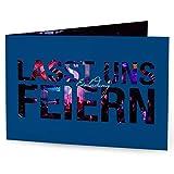 greetinks 25 x Einladungskarten für Geburtstag 'Feierfreude' in Blau | Personalisierte Geburtstagskarten zum selbst gestalten | 25 Stück Geburtstagseinladungen - Einladungen Party & Jugendweihe