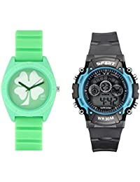 Fantasy World Green Watch And Sport Watch Combo For Boys And Girls