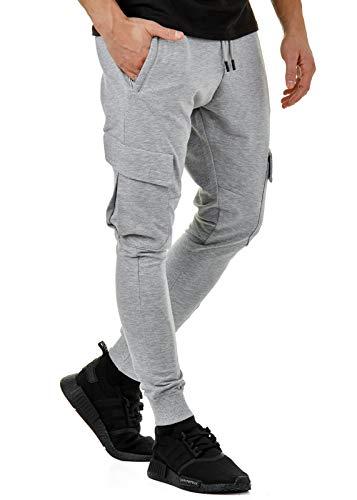 Burocs EightyFive Herren Jogginghose Sweatpants Zipper Gesteppt Schwarz Weiß Grau 305, Größe:S, Farbe:Cargo Grau