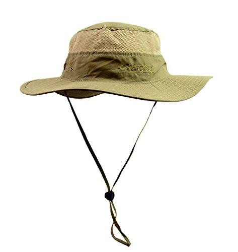 Genda 2Archer Unisexe Hommes et Femmes Bucket Hat chapeau large Brim Sun Chin Strap Dark Khaki