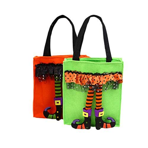 Amosfun 2 stücke Halloween Trick or Treat Taschen süßigkeiten geschenk taschen Kreative taschen griffe für kinder Festival party decor (Grün + Orange, 1 stück für Jede Farbe)