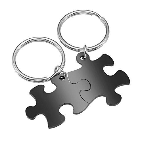 BOPREINA Personalized Gravur 2X Edelstahl 33*22mm Zwei Puzzle Schlüsselanhänger Partner Paare Liebe Freundschaft Schlüsselbund Schlüsselring Keychain (Schwarz, Non-Gravur)