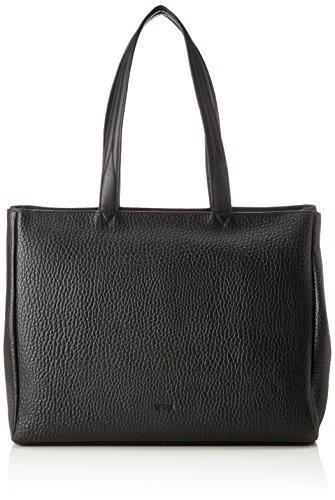 Leder-handtasche Tote-schulter-handtasche (BREE Damen Qina 3 Henkeltasche, Schwarz (Black), 14x30x38 cm)