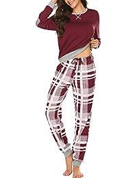 Schlafanzug Damen Lang Winter Pyjama Set Zweiteiliger Sleepwear Langarm Nachtwäsche Lang Hausanzug mit Karierte Hose für Frauen