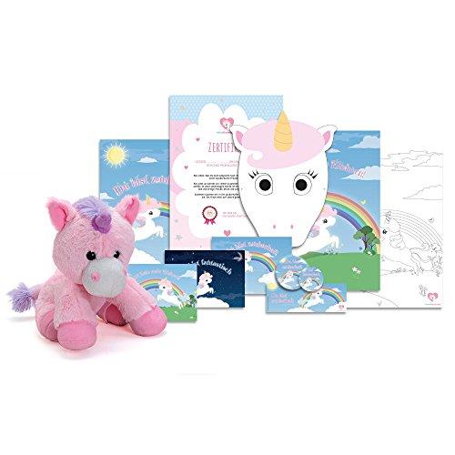 Einhorn Adoption Paket inkl. Plüschtier 25cm | 12-teiliges Geschenk-Set von EinhornLiebe® (pretty pink)