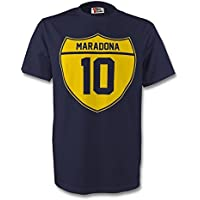 UKSoccershop Diego Maradona Boca Juniors Crest tee (Navy) - Kids