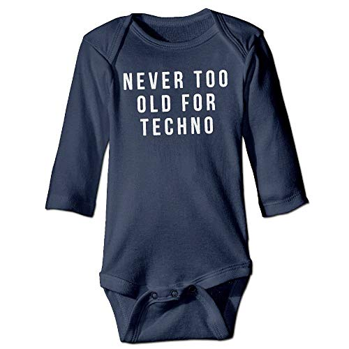 WYICPLO Unisex Toddler Bodysuits Never Too Old for Techno Girls Babysuit Long Sleeve Jumpsuit Sunsuit Outfit Navy -
