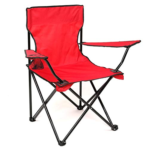 Red Beach Chair (Tragbarer, faltbarer Campingstuhl, Oxford Cloth Fishing Chair, Handrail Beach Director Chair, Support Up bis 160kg,red)