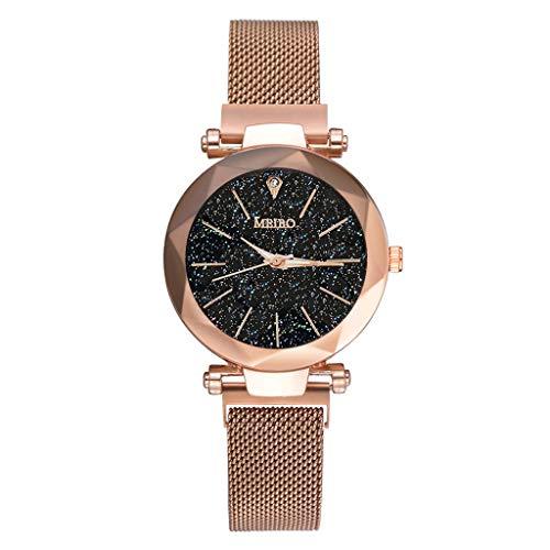 LSAltd 2019 Neue Ankunft Exquisite Armbanduhr Damen Quarz Edelstahl Band Magnet Schnalle Starry Sky analog Wrist Diamant armbanduhren.