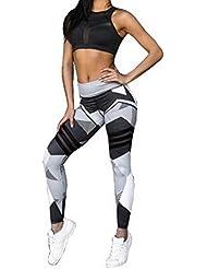 Nibesser Femme Pantalon Couleur Patchwork Legging Elasticite Elevee Respirant Skinny Sechage Rapide pour Yoga Pilate Course