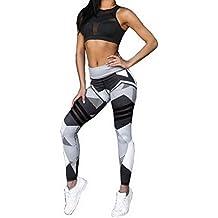 Nibesser Femme Pantalon Couleur Patchwork Legging Elasticite Elevee  Respirant Skinny Sechage Rapide pour Yoga Pilate Course bdacbd11cb75