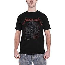 Metallica T Shirt Damage Justice Distressed Skull Logo Oficial de los hombres