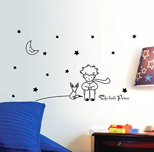 Sterne Mond der kleine Prinz Fox Grafik Wand Vinyl Kinder Märchen Aufkleber Abziehbilder für Kinder Zimmer Nursey Room Decor