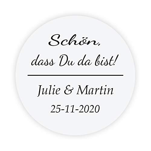t Hochzeitssticker - 'Schön, dass Du da bist!' Aufkleber - 4 cm Runde Papieraufkleber Etiketten für die Hochzeit,Gastgeschenk,Tischdeko,Flaschen,Tüten,Briefen,Einladungen - Rd 070 ()