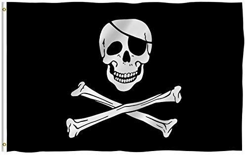 Flagge Pirat, Polyester, Jolly Roger with Patch, 3 X 5 Ft