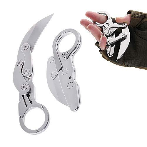 Flyworld Klappmesser, Edelstahl Taschenmesser Multifunktion Günstige Einhand Outdoor Messer Silber Survival Knife Immer Extrem Scharfe Jagdmesser Klein Klinge Einhandmesser Leicht