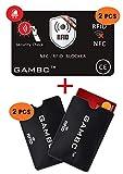 4 PCS ✅ Carte 2 Protección RFID con LED + 2 Estuches RFID / NFC Bloqueador de tarjetas de crédito sin contacto, tarjetas bancarias, cajeros automáticos Protege toda la billetera sin BATERÍA